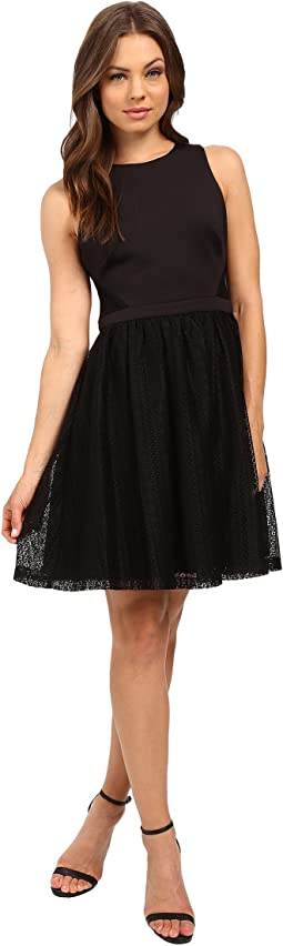 Solid Fit & Flare Dress with Lace Skirt JS6D8661