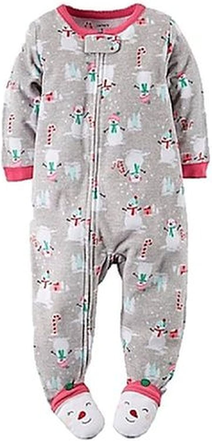 Carter's Girl's 4T Snowman, Candy Canes Fleece Footed Pajama Sleeper Gray