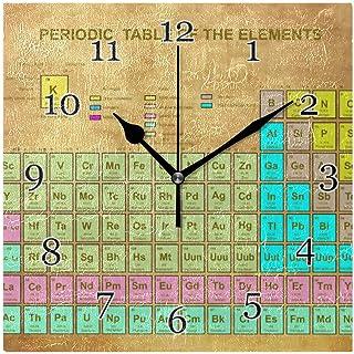 Vintage periodiska systemet väggklocka tyst icke-tickande fyrkantig konstmålning klocka för hemmakontor skoldekor