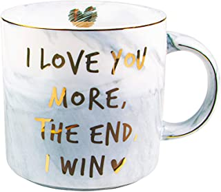 Vilight I Love You More The End I Win Funny Mug for Girlfriend and Boyfriend - Gifts for Him Her Marble Coffee Cup 11.5 Oz