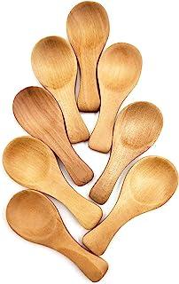 6Pc Small Bamboo Wooden Spoon Dessert Ice Cream Tea Coffee Honey Scoop Tool USA