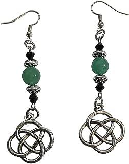 Celtic Knots Green Jade Adventurine Stone Beads dangle drop earrings jewelry