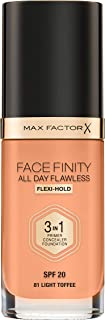 Max Factor Facefinity 3-in-1 All Day Flawless Foundation, SPF 20, Light Toffee, 30ml