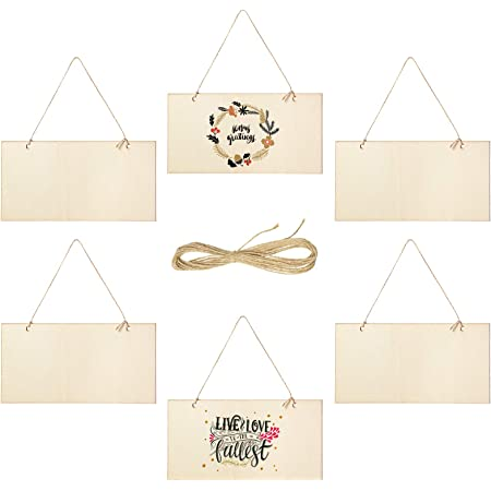 Details about  /40//60x Unfinished Wood Xmas Hanging Signs Home Decor+Rope 60pcs 6 Types each set
