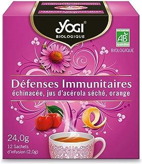 Yogi Biologique Défenses Immunitaires, Infusion 100% Bio Échinacée, Jus d'Acérola séché et Orange, 12 Sachets thermosoudés...