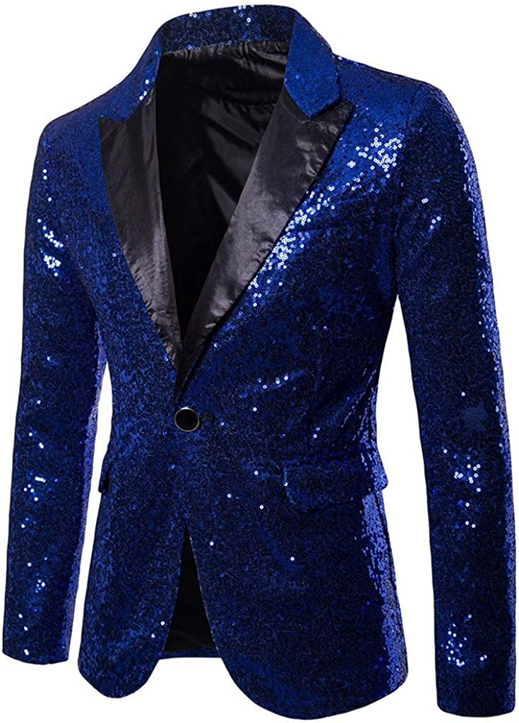 2019 New!Mens Shining Suit for Host,Dress Coat Swallowtail Dinner Party Wedding Blazer Suit Jacket Blue