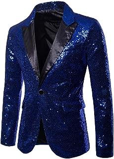 Charm Men's Sequin Casual One Button Fit Suit Blazer Coat Jacket Party