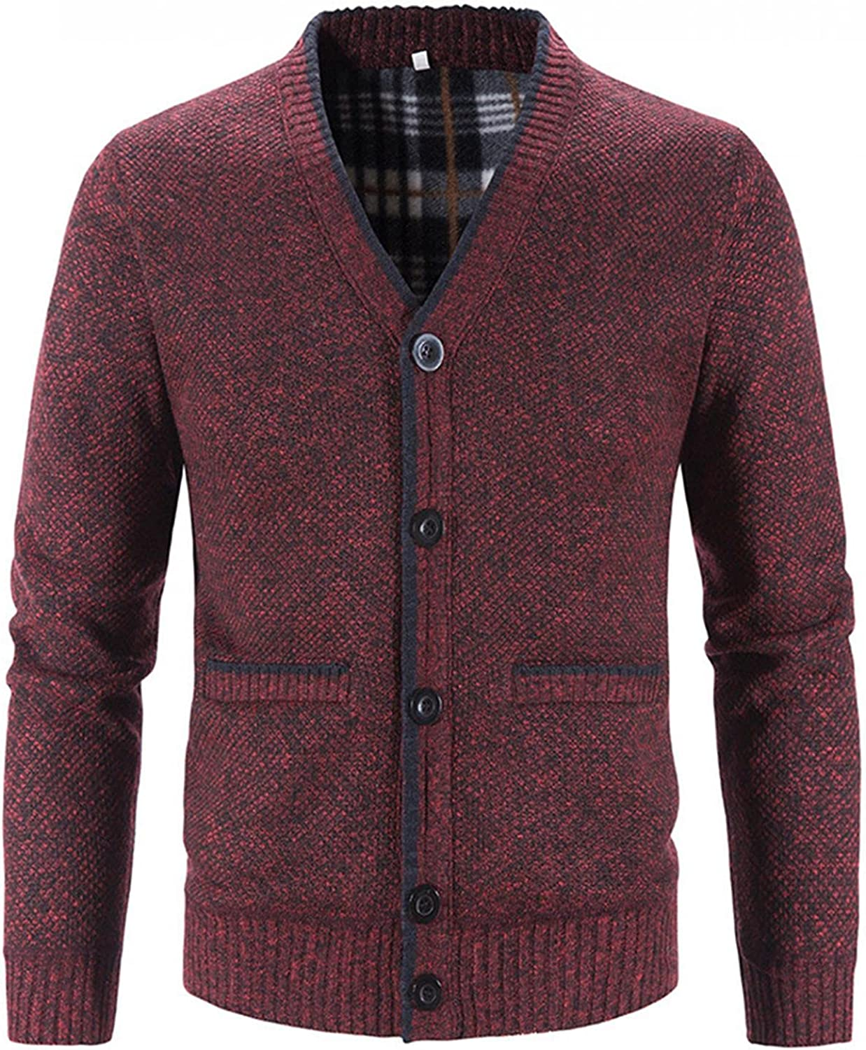 LEIYAN Mens Long Sleeve Knitted Cardigan Casual V-Neck Graphic Patchwork Thermal Button Down Cable Knit Jackets