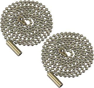 Mobestech 2 piezas de extensión de cadena de tracción con cuentas de bronce con conector de reemplazo de cadena de interruptor de ventilador de techo para luz de pared de techo
