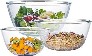 Glass Mixing Bowl Set for Kitchen,3-piece Bowl Set(1qt,2.5qt,4.2qt),High Brosilicate Salad Bowl for Kitchen Baking,Preppin...