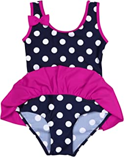 Nimiya Baby Girl's Infant One Piece Swimsuit Rufles Sleeveless Polka Dot Bow Swimwear Bathing Suit