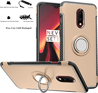 OnePlus 7 /OnePlus 6T case,Labanema Hybrid Dual Layer 360 Degree Rotation Ring Holder Kickstand Armor Slim Protective Cover for OnePlus 7 /OnePlus 6T - Gold