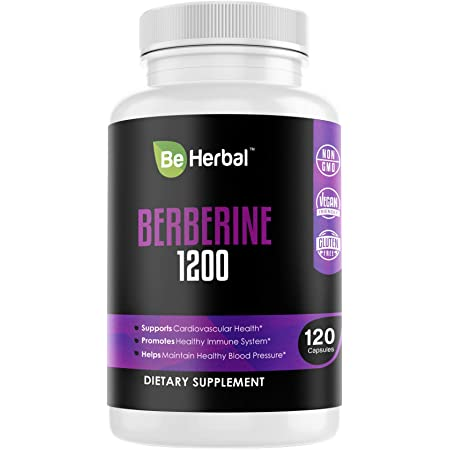 BE HERBAL Berberine Supplement 1200mg - High Potency - Healthy Blood Sugar - Glucose Metabolism - Boost Immune System - Cardiovascular Health - Weight Management Support   Premium Grade – 120 Capsules