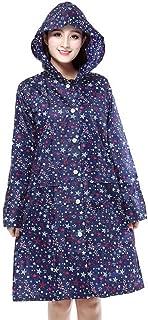 PENGFEI 女性 レインコート ポンチョ 隠す 漂流 防水 観光 日焼け止め 印刷、 2色展開 (色 : 青, サイズ さいず : M)