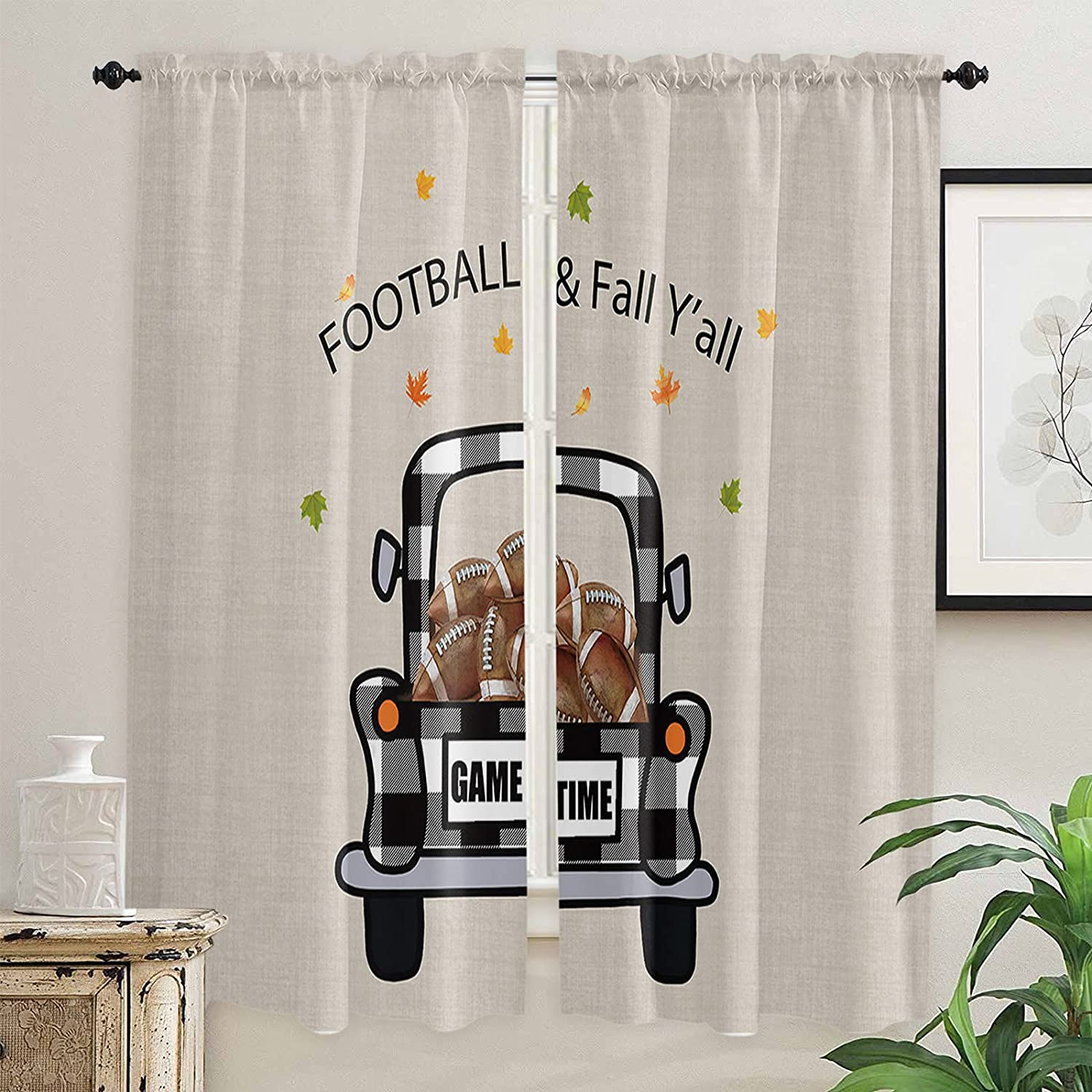 Ranking TOP6 Football Fall Y'all Kitchen Curtains Windows Inch Ranking TOP1 for Length 72