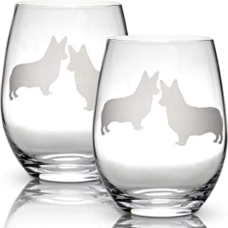 Corgi Stemless Wine Glasses (Set of 2) | Unique Gift for Dog Lovers | Hand Etched with Breed Name on Bottom