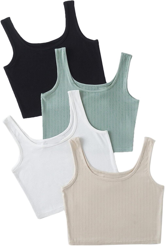 MakeMeChic Women's 4packs Plus Size Rib Knit Sleeveless Tank Crop Top