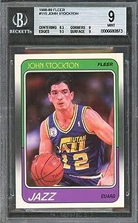 1988-89 fleer #115 JOHN STOCKTON utah jazz rookie card BGS 9 (8.5 9 9.5 9) Graded Card