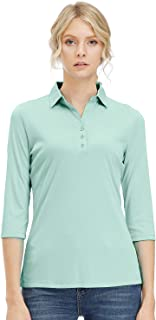 Corna Women's Soft 3/4 Sleeve V Neck Performance Golf Polos 3 Buttons Mositure Wicking Athletic Golf Polo Shirts Tops/Tee