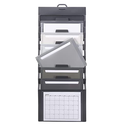 Smead Cascading Wall Organizer, 6 Pockets, Letter Size, Gray/Neutral Pockets (92061)