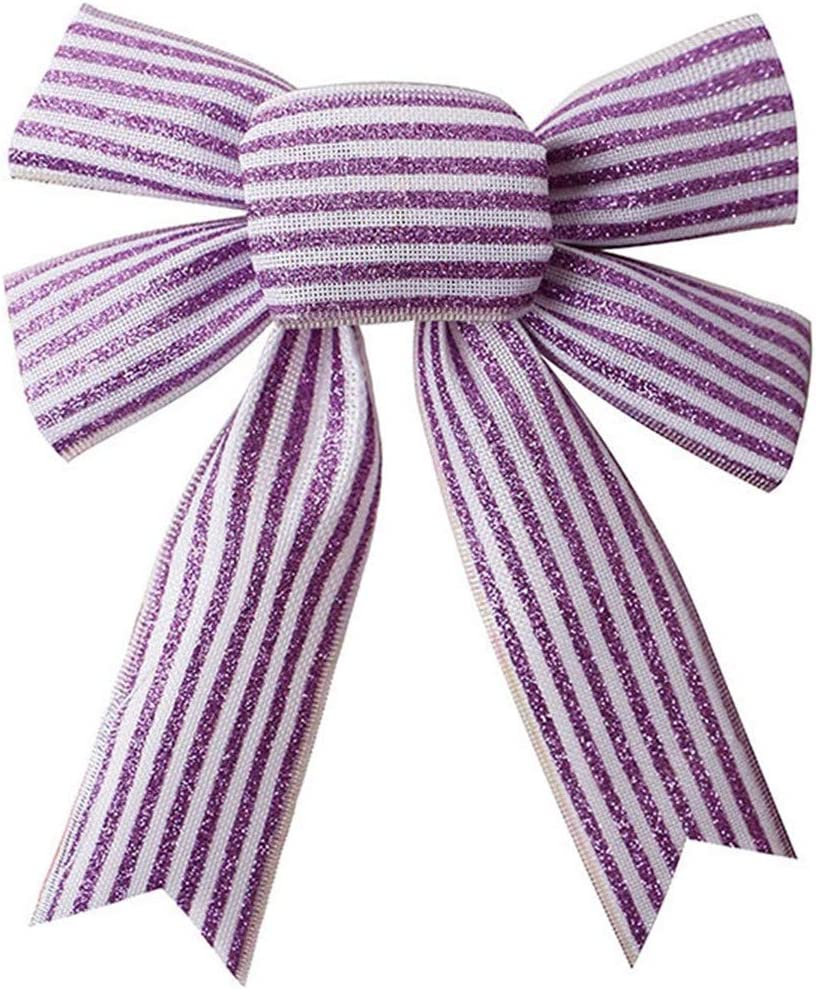 Los Angeles Mall JANOU Purple Glitter Stripe Bow Holiday Ru Crafts Today's only DIY Wreath