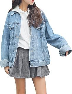 sandbank Women's Loose Fit Long Sleeve Button Boyfriend Denim Jacket Jean Coat