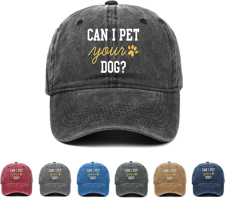 Kritin Can I Pet Your Dog Hat,Dog Lover Adjustable Baseball Cap Unisex Washable Cotton Trucker Cap Dad Hat
