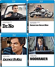 4 Different Bonds Spy Movies Dr. No Sean Connery 007 James Bond & Roger Moore Blu Ray Moonraker / Licence To Kill Timothy Dalton + Tomorrow Never Dies Pierce Brosnan Four film Action Set Collection