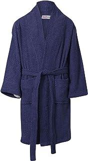 Kids Girls Boys 100% Cotton Soft Terry Navy Bathrobe Luxury Dressing Gown