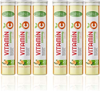 Oladole Natural Vitamin C 1000mg effervescent + Zinc Orange Flavor Pack of 6