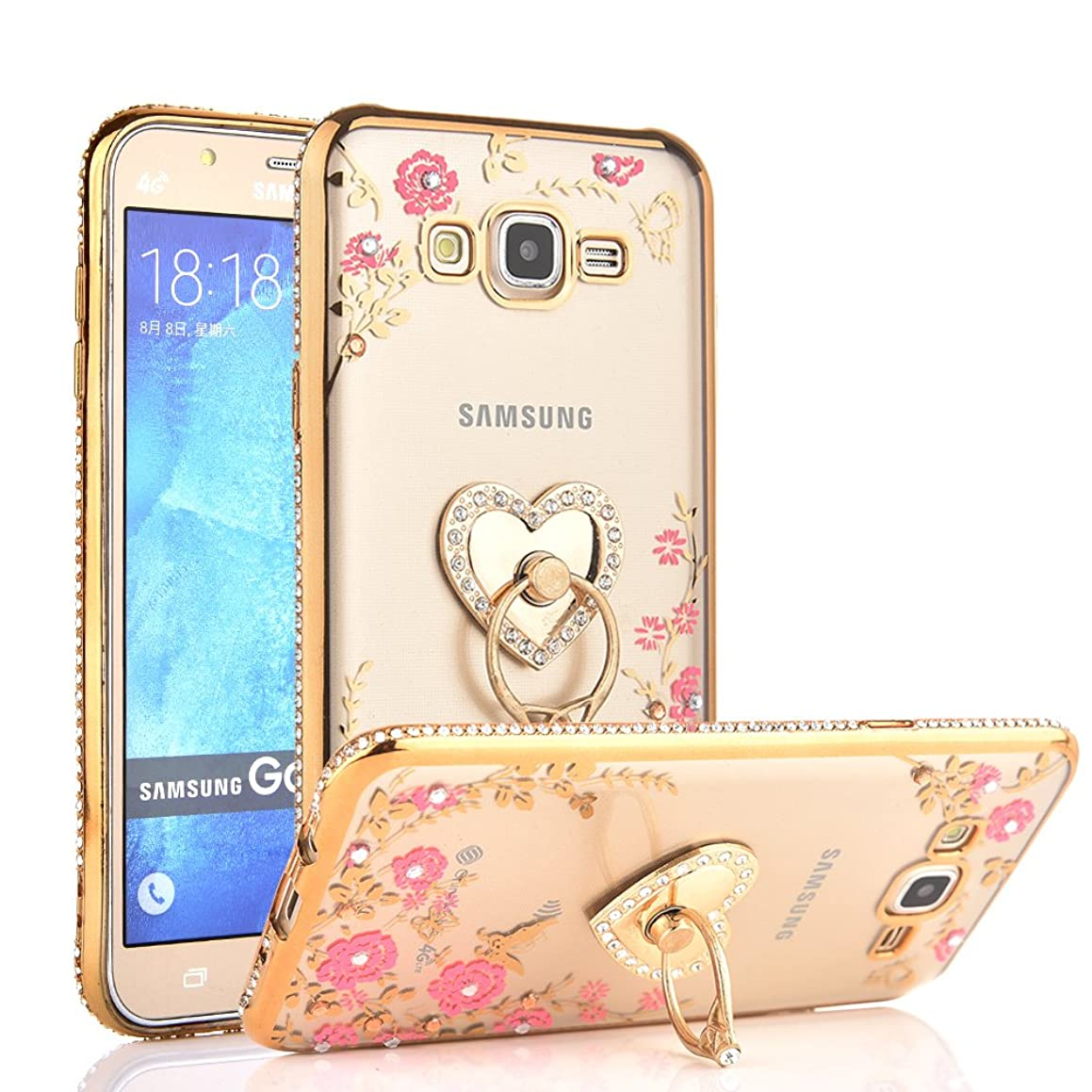 CaseHaven Galaxy J7 Case, Glitter Crystal Heart Floral Series - Slim Luxury Bling Rhinestone Clear TPU Case with Ring Stand for Samsung Galaxy J7 J700 (2015) - Gold