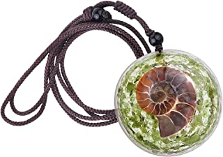 Yatming Natural Ammonite Fossil Crystal Pendant with Adjustable Rope Reiki Healing Chip Stone Pendant Necklace Amulet Jewe...