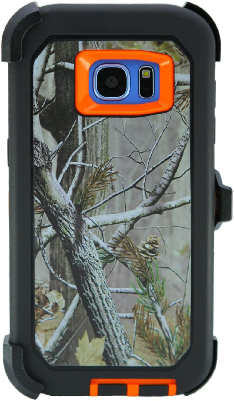"""WallSkiN Turtle Series Belt Clip Cases for Galaxy S7 Edge (5.5""""), 3-Layer Full Body Life-Time Protective Cover & Holster & Kickstand & Shock, Drop, Dust Proof - Camouflage/Orange"""