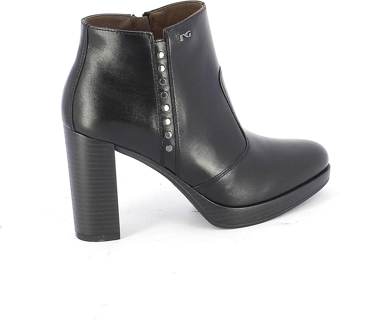 black Giardini Women's A806322D100 Black Leather Ankle Boots