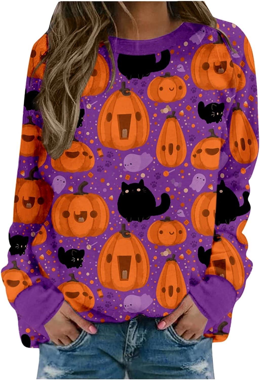 Kaitobe Halloween Long Sleeve Shirts for Women Pumpkin Print Sweatshirts Round Neck Tops Comfy Casual Tunic Blouse Tops