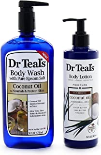 Dr. Teals Coconut Oil Body Wash (24 fl oz) - Bundle of Dr Teals Body Wash and Coconut Oil Lotion (16 fl oz)