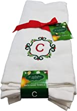 St. Nicholas Square Christmas Seasonal Letter Monogrammed Kitchen Bathroom Hand Towels (Letter C)