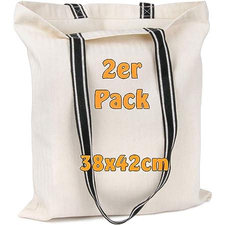 Cottonbagjoe Einkaufstasche mit schwarzen Henkeln | 38 x 42 cm | 100% Baumwolle | Fischgrät-Design | Baumwolltasche, Jutebeutel, Stofftasche zum Bedrucken