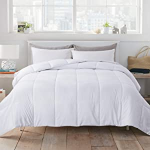 WhatsBedding White Down Alternative Quilted Comforter - All Season Lightweight Duvet Insert or Stand-Alone Comforter with Corner Tabs - Queen Size(88×92 Inch)