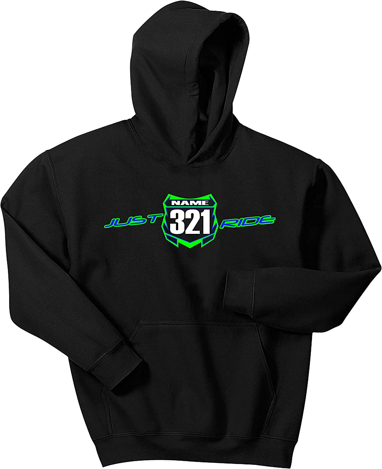 Just Ride Motocross Youth Hoodie Number Plate Custom Personalized Sweat Shirt