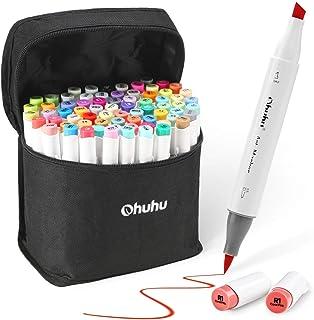 72 Promarker, Ohuhu Set de rotuladores doble punta y tinta a base de alcohol para niños o artistas. Regalo de un mezclador para obtener incríbles colores en tu caligrafía e ilustración