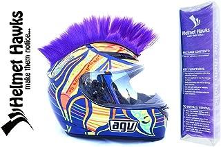 Helmet Hawks Motorcycle Helmet Mohawk w/Sticky Hook and Loop Fastener Adhesive - Royal Purple