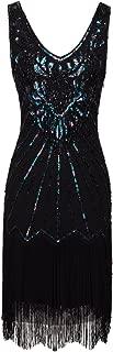 FAIRY COUPLE Women's 1920s Flapper Dress Gatsby Dress V Neck Beaded Fringed Dress Club Dress