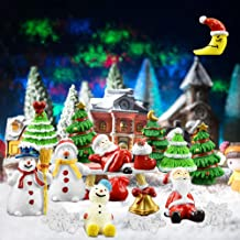 ZILONG 27PCS Christmas Miniature Ornaments DIY Fairy Dollhouse House Garden Decor White Sand, Santa Claus, Christmas Tree...