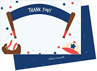 Baseball Sports Thank You Cards (25 Count) With Envelopes and Seal Stickers Bulk Birthday Party Bridal Blank Graduation Kids Children Boy Girl Baby Shower (25ct)
