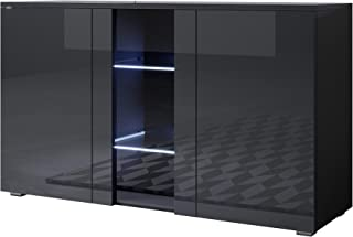 muebles bonitos Aparador Modelo Luke A1 (120x72cm) Color Negro con Patas estándar