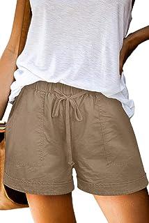 Heymiss Womens Casual Drawstring Elastic Waist Pocketed Loose Lounge Shorts