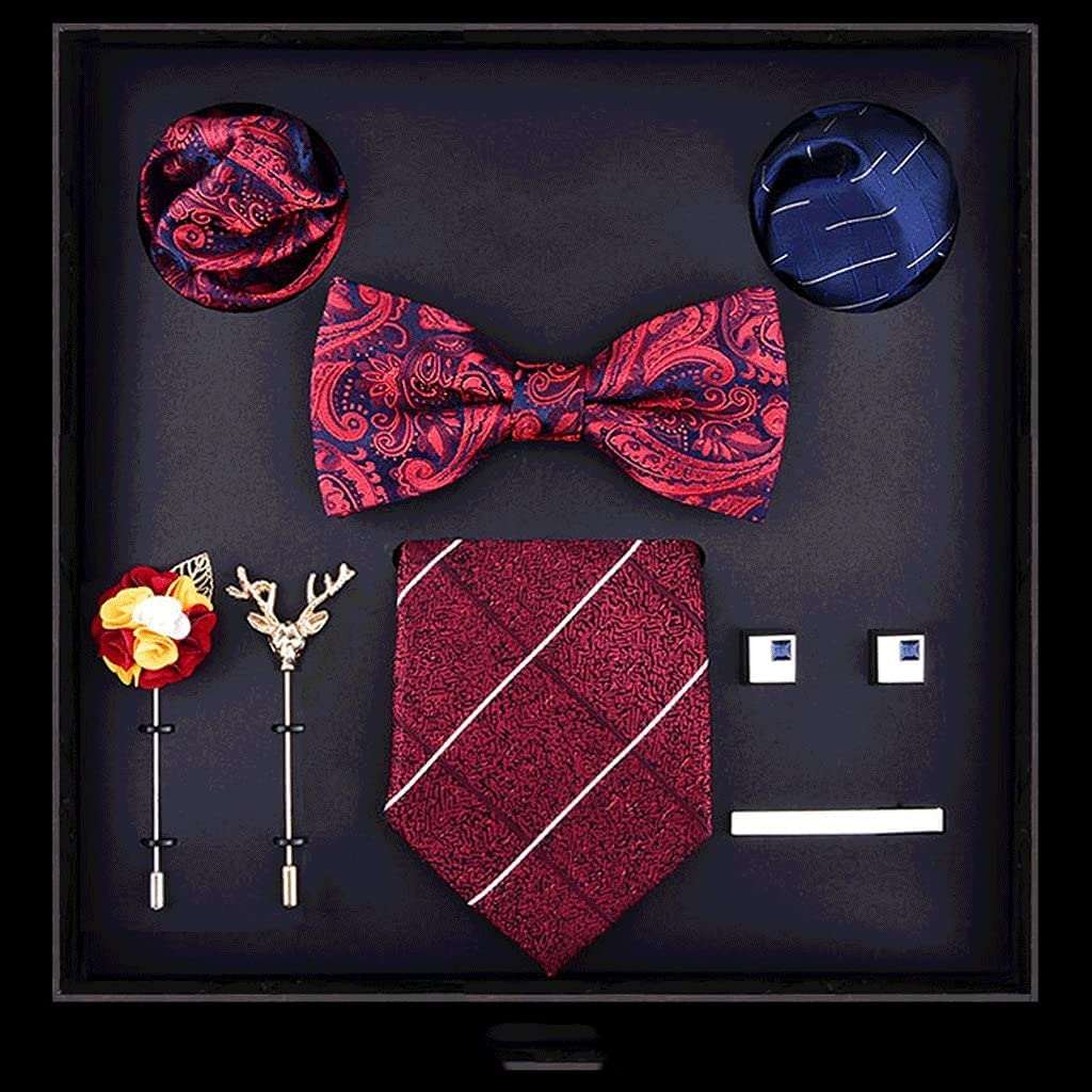 NJBYX Business Gift Suit Men's Business Formal Evening Party Casual Gift Tie and Tie 8-piece Suit Gift Set for Man in a Box Bowtie (Color : B)