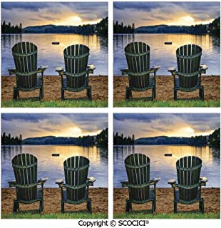SCOCICI Set of 4 Placemats Polyester Custom-Made Washable Table Mats Two Wooden Chairs on Relaxing Lakeside at Sunset Algonquin Provincial Park Canada Dining Table Kitchen Table Mats 12x12 Inch