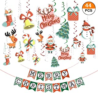 Christmas Party Decorations Kit 30 Ct Christmas Merry Christmas Hanging Swirl Santa Claus Banner Decor Xmas Party Supplies Holiday Favors